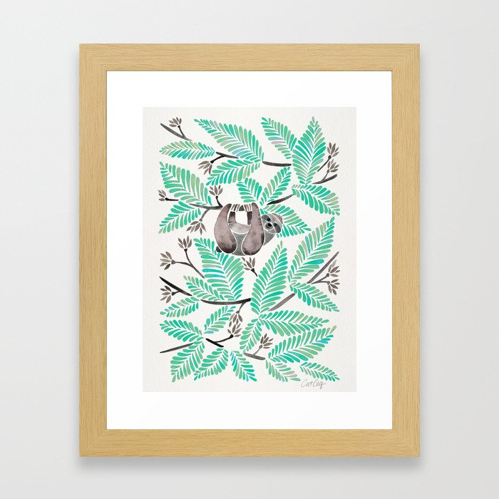 Happy Sloth – Tropical Mint Rainforest Framed Art Print