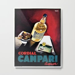 Vintage Campari Italian Cordial Advertisement Wall Art Metal Print