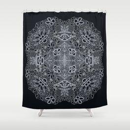 Crocheted Lace Mandala Shower Curtain