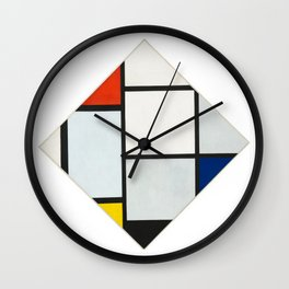 Tableau No. IV: Lozenge Composition with Red, Gray, Blue, Yellow, and Black - Piet Mondrian Wall Clock