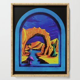 Trippy Psychedelic Surreal by Vincent Monaco - Triassic Pond Serving Tray