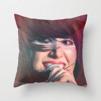 karen Throw Pillows featuring Karen O by Camila Fernandez