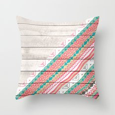 Andes Tribal Aztec Coral Teal Chevron Wood Pattern Throw Pillow