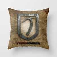 tomb raider Throw Pillows featuring Tomb Raider by Liquidsugar