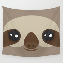 funny and cute smiling Three-toed sloth on brown background Wall Tapestry