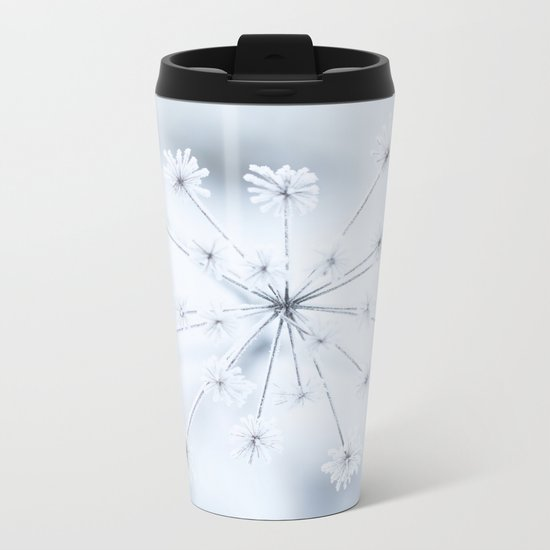 Beautiful Dry Flower with Ice Crystals Metal Travel Mug