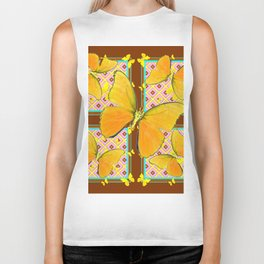 Yellow Butterflies Coffee Brown Pink & Blue Patterns Biker Tank