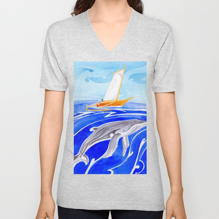 humpback whale and polynesian outrigger sail boat Unisex V-Neck