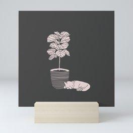 Cat and Plant Mini Art Print