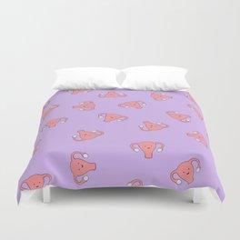 Crazy Happy Uterus in Purple, Large Duvet Cover