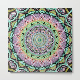Black Pastel Mandala 012018 Metal Print