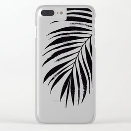 Tropical Palm Frond: Black & White Clear iPhone Case