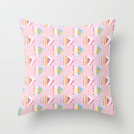 Girly Pink Triangles Memphis Style Geometric Abstract Seamless Vector Pattern Throw Pillow