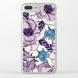 Cute beautiful floral seamless pattern. Ultraviolet roses, violas and meadow flowers. Clear iPhone Case