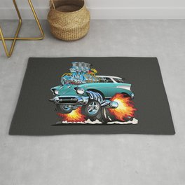 Classic Fifties Hot Rod Muscle Car Cartoon Rug