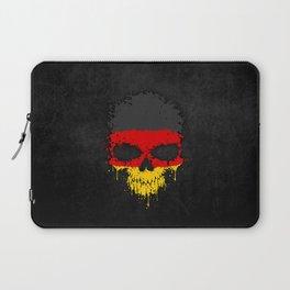 Flag of Germany on a Chaotic Splatter Skull Laptop Sleeve