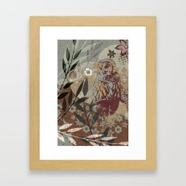Graphic Barred Owl Nature Collage Art Framed Art Print