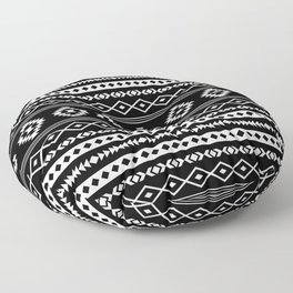 Aztec White on Black Mixed Motifs Pattern Floor Pillow