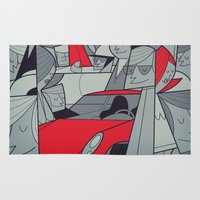 racing Area & Throw Rugs featuring Porsche Racing by Ale Giorgini