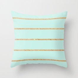 Modern pastel green faux gold glitter stripes pattern Throw Pillow