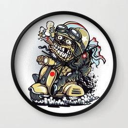 Smoke Skull Driver Moped - Texas cigar Wall Clock