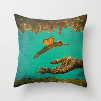 let it go Throw Pillows featuring Let Go by Brianne Lanigan