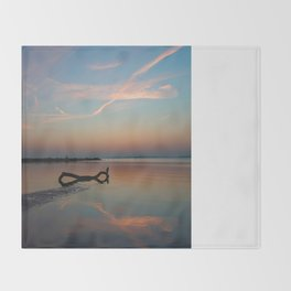 Blue hour at the lake Throw Blanket