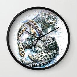 Little snow leopards Wall Clock