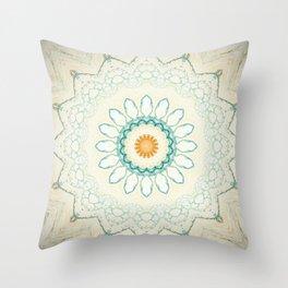 Pastel Yellow Baby Blue Mandala Throw Pillow