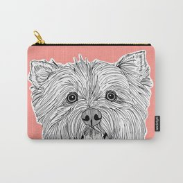 West Highland Terrier Dog Portrait ( coral background ) Carry-All Pouch