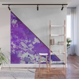Abstract violet lilac white watercolor paint splatters Wall Mural