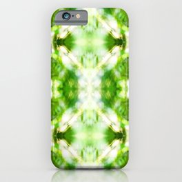Abstract green nature bokeh background pattern surreal shaped symmetrical kaleidoscope iPhone Case