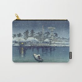 Vintage Snowy Japanese Seaside Village Carry-All Pouch
