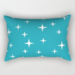 Mid Century Modern Star Pattern 443 Turquoise Rectangular Pillow