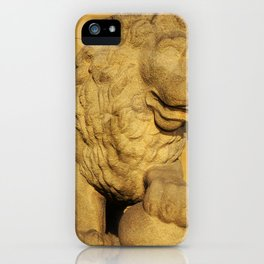 An imposing stone lion iPhone Case