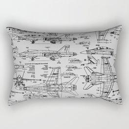 F-18 Blueprints // Light Grey Rectangular Pillow