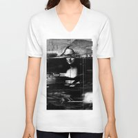 glitch V-neck T-shirts featuring Mona Lisa Glitch by nicebleed