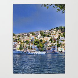 Symi island in Greece. Traditional houses. Sunny day with blue sky and sea. Poster