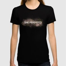 She Persisted - Gold Dust LARGE Black Womens Fitted Tee