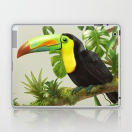 Toucans and Bromeliads (Canvas Background) Laptop & iPad Skin