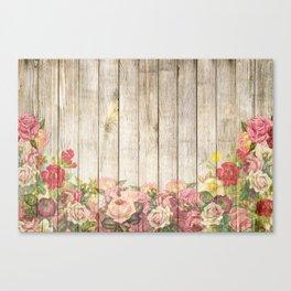 Vintage Rustic Romantic Roses Wooden Plank Canvas Print