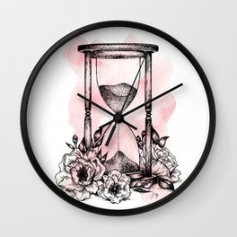 Floral Hourglass Wall Clock