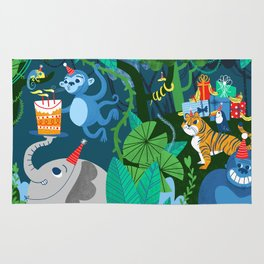 Jungle Monkey Birthday Party Rug