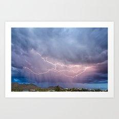 March Lightning Over Cave Creek Arizona Art Print