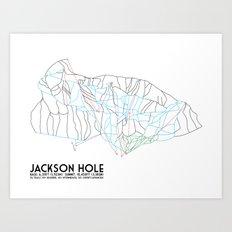 Jackson Hole, WY - Minimalist Trail Map Art Print