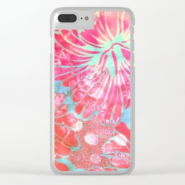 Blue Water Hibiscus Snowfall Clear iPhone Case