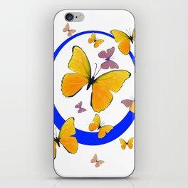 YELLOW BUTTERFLIES & BLUE RING MODERN ART iPhone Skin