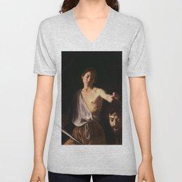 Michelangelo Merisi da Caravaggio - David with the Head of Goliath Unisex V-Neck