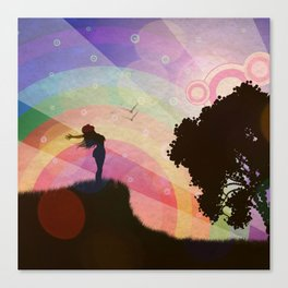 Freedom and rainbow Canvas Print