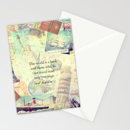The world is a book TRAVEL QUOTE Stationery Cards